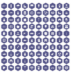 100 mill icons hexagon purple vector