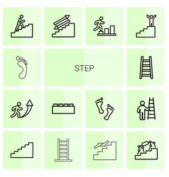 14 step icons vector image
