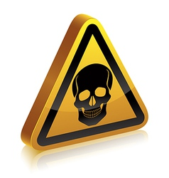 3d warning sign with skull vector image