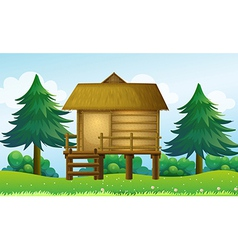 A small house at the top of the hill vector image