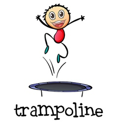 A young boy playing with the trampoline vector image