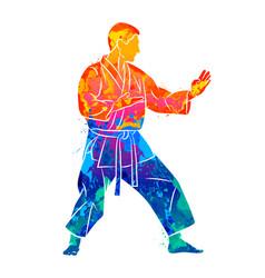 abstract man in kimono training karate from splash vector image