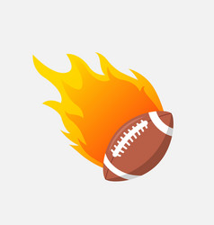american football ball in fire flame rugby vector image