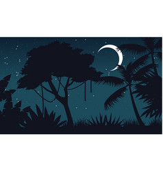 At night forest with moon scenery vector