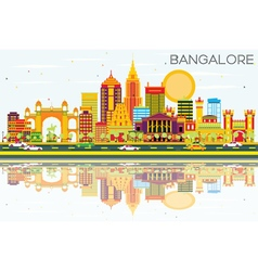 Bangalore skyline with color buildings vector