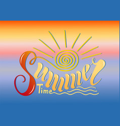 beautiful handwritten text summer time on a vector image