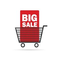 big sale icon with basket color vector image