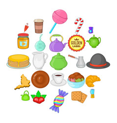 Biscuit icons set cartoon style vector