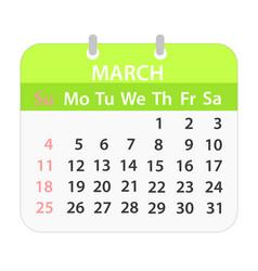 Block calendar on march 2018 on white stock vector