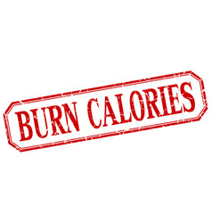 Burn calories square red label vector