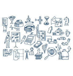 business doodles hand drawn elements and vector image
