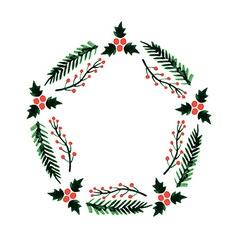 Christmas frame new year wreath vector