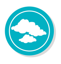Circular frame with silhouette set clouds icon vector