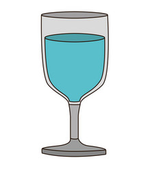 Colorful silhouette of glass of wine with water vector