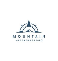 Compass with mountain logo design vector