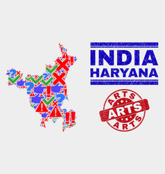 Composition haryana state map sign mosaic and vector