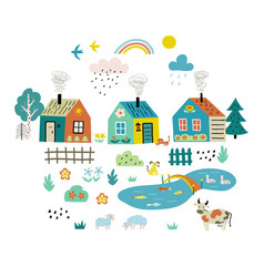 cute cartoon village funny doodle landscape vector image