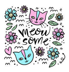 cute cat hand drawn children sketch vector image