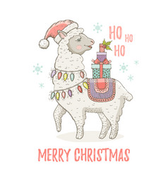 cute christmas alpaca llama in santa hat winter vector image