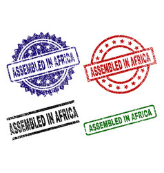 damaged textured assembled in africa seal stamps vector image