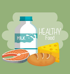 delicious milk bottle with healthy food vector image