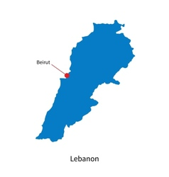 Detailed map of Lebanon and capital city Beirut vector image
