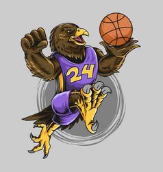 eagle wearing basketball playing ball vector image