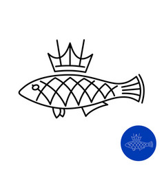 fish icon with crown king line style concept vector image