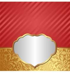 gold red background with ornaments and silver vector image