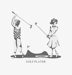 Golf players couple in the course vector