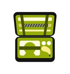 Golf set in suitcase icon vector image