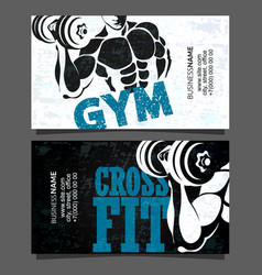 Gym and fitness business card vector