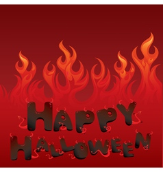 Halloween card with Flaming texture vector image