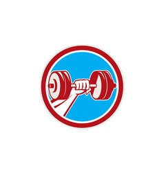 Hand Lifting Dumbbell Front Circle Retro vector