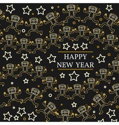 Happy new year greeting card EPS10 Monkeys thin l vector image