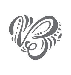 heart hand drawn calligraphic scandinavian vector image