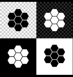 honeycomb sign icon isolated on black white and vector image