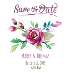 Invitation card with watercolor floral vector