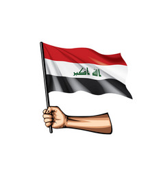 Iraqi flag and hand on white background vector