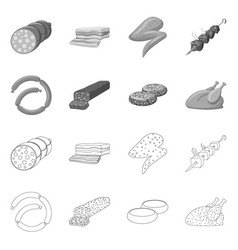 Isolated object of meat and ham sign collection vector