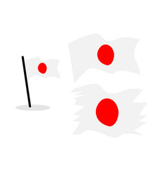 japan flag weavy straight flagpole national flag vector image