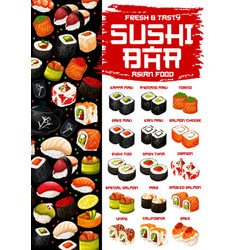 Japanese cuisine menu sushi and rolls vector