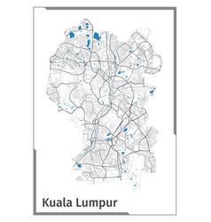 Kuala lumpur map poster administrative area plan vector