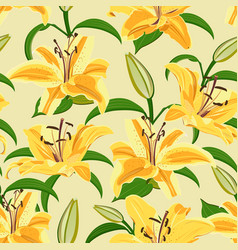 Lily flower seamless pattern on yellow background vector