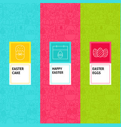 Line easter patterns set vector