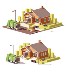 Low poly house icon vector