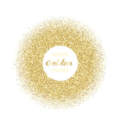 luxury golden glitter round frame vector image