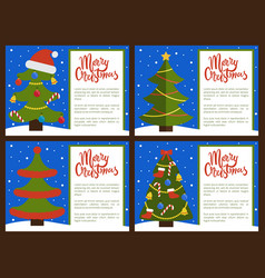 merry christmas happy new year posters with tree vector image