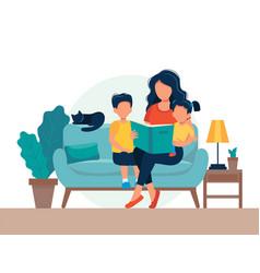 Mom reading for kids family sitting on sofa vector