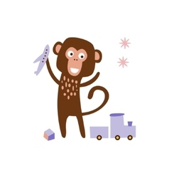 Monkey Playing With Toys vector